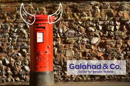 A postbox with devil horns, indicating anxiety around receiving letters.